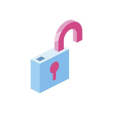 Lock open 3d vector icon isometric pink and blue colors minimalism illustrate