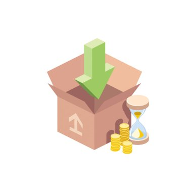 Packing loading Hourglass coin value. Vector 3d isometric, color web icons set, new flat style. Creative illustration, idea for infographics. icon