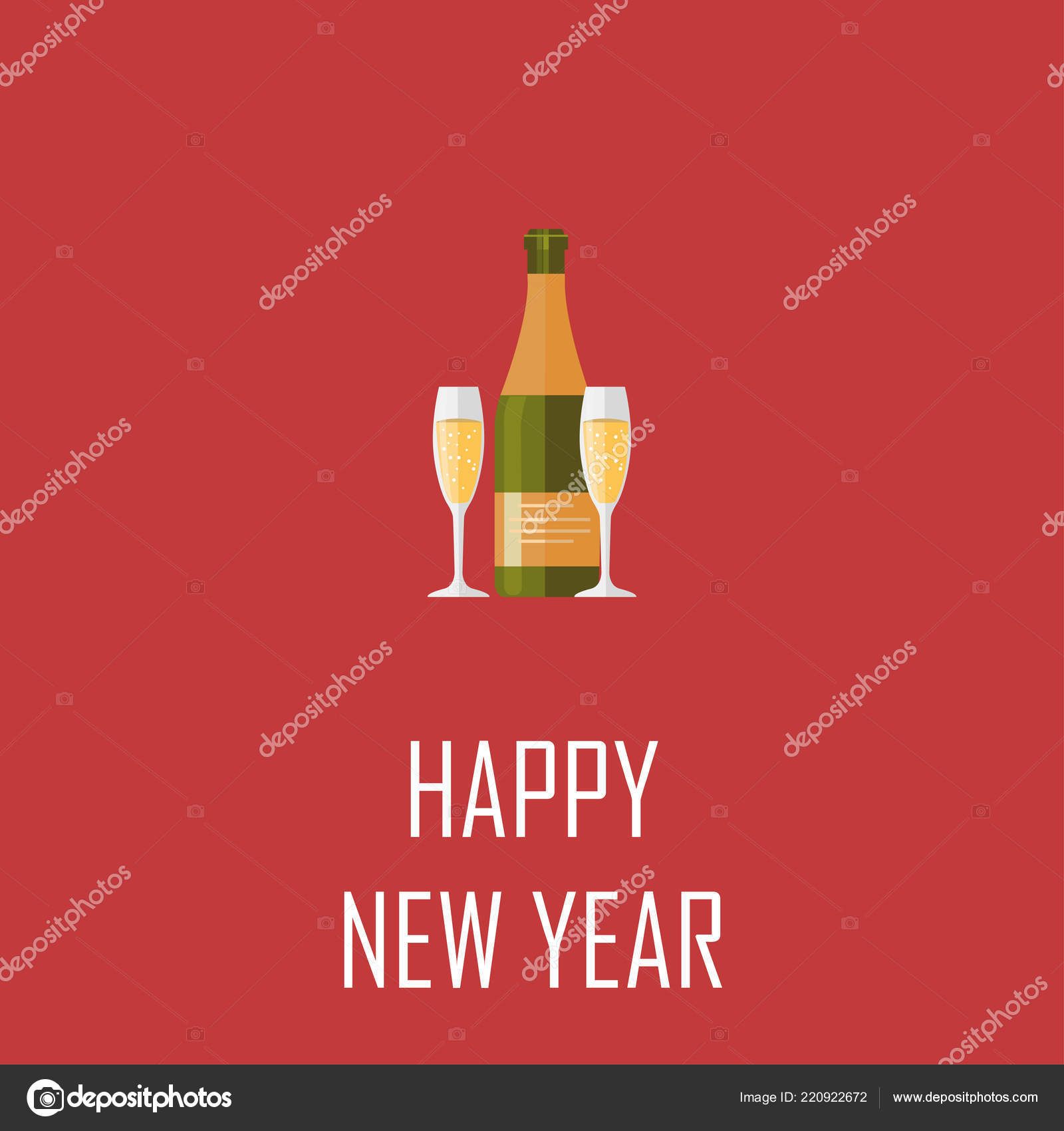 champagne bottle elegant glasses of yellow champagne with bubbles on red background happy new year and