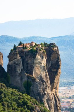 Great view of the monasteries of Meteora in Greece. Landscape with monasteries and rocks in the sunset