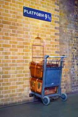 London, UK - May 12 2018: Platform 9 3/4 that taken fron Harry Potter movie in King's Cross station
