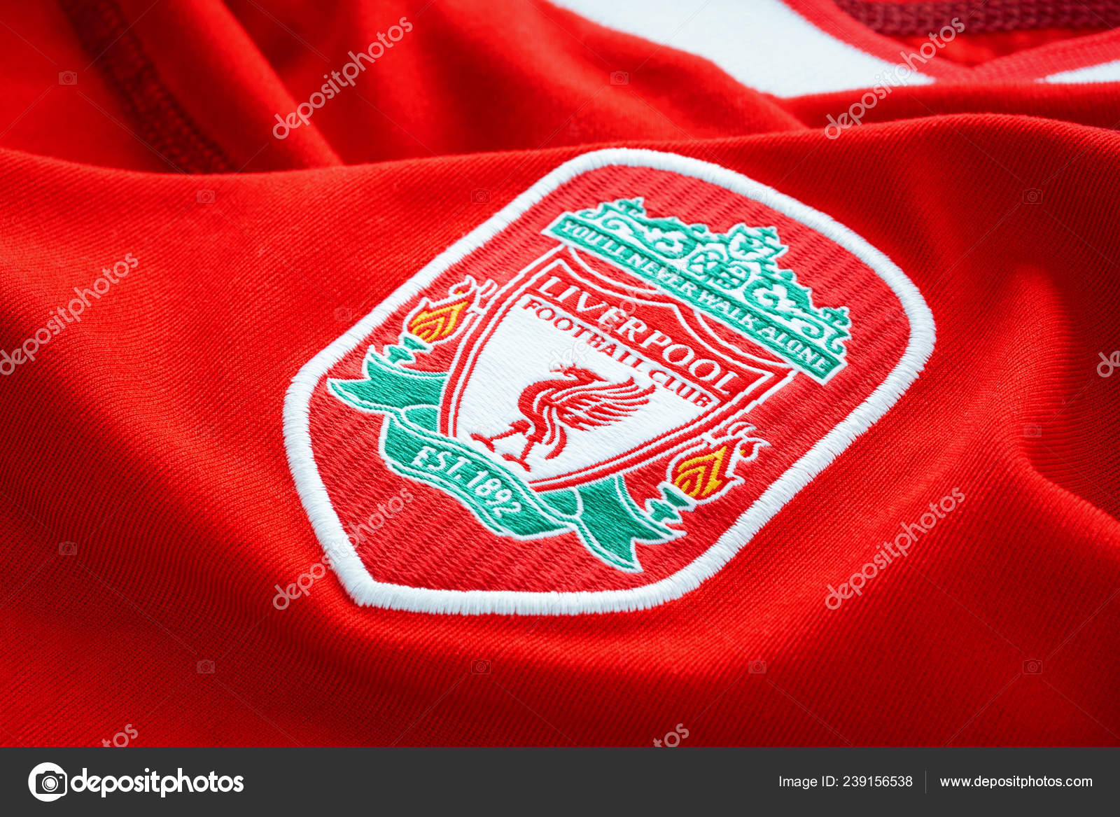 2396594bb45 Bangkok Thailand January 2019 Close Liverpool Football Home Jersey ...