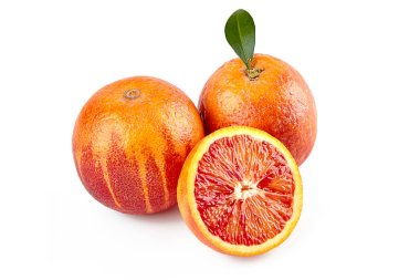 package design element. Red sicilian orange with half isolated on white background with clipping path. Perfectly retouched. ready-to-use food images. Pack shoot. Red blood orange