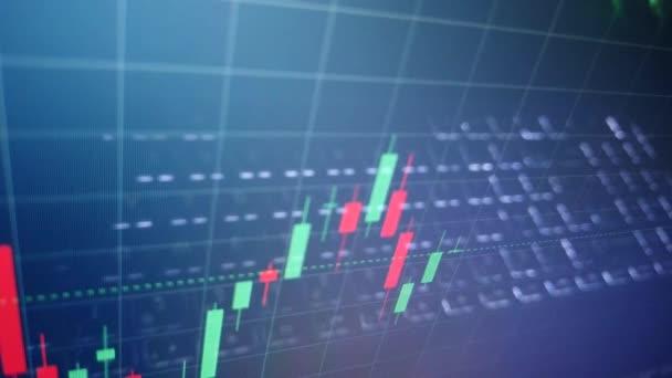 Dynamický časová prodleva video obchodování investiční terminál. Grafy cenových změn na akciovém trhu. japonské svíčky