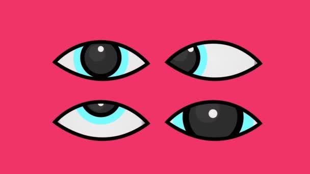 Close up 2D kreslené oči blikání a sledování animace, izolované růžové pozadí.