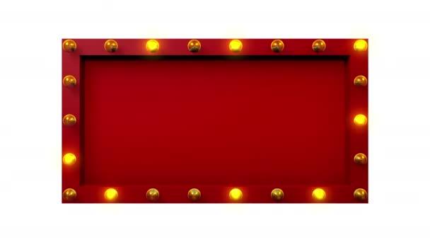 Rote 3D-Kino- oder Theaterschilder-Attrappe mit gelben Glühbirnen, die um das Objekt herum blinken, mit leerem Raum, Aufnahme von der Vorderseite, nahtlose Looping-Animation, isoliert auf weißem Hintergrund.