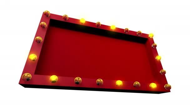 Rote 3D-Kino- oder Theaterschilder-Attrappe mit gelben Glühbirnen, die um das Objekt herum blinken, mit leerem Raum, Frontansicht, nahtloser Looping-Animation, isoliert auf weißem Hintergrund.