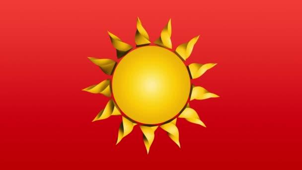 3D kreslená animace žluté slunečné rotace smyčky na červeném pozadí.