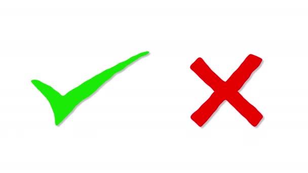 Wahr oder falsch, ja oder nein Symbole Ankreuzen Animation Bewegung, mit auf Alpha-Kanal Hintergrund.
