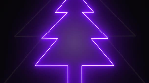 Abstract Neon Christmas tree shape tunnel, seamless looping animation,  zoom in motion on darkness background.