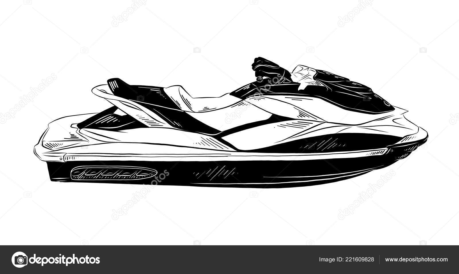 Vector illustration style grav pour affiches d coration impression croquis dessin image - Jet ski dessin ...