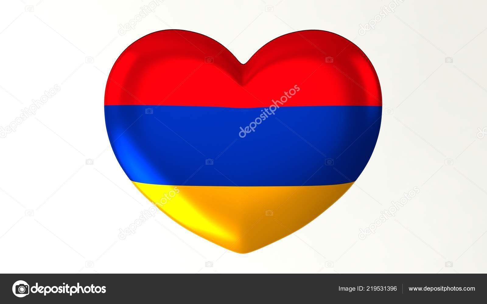 Heart Shaped Button Pin Illustration Render Flag Love Armenia