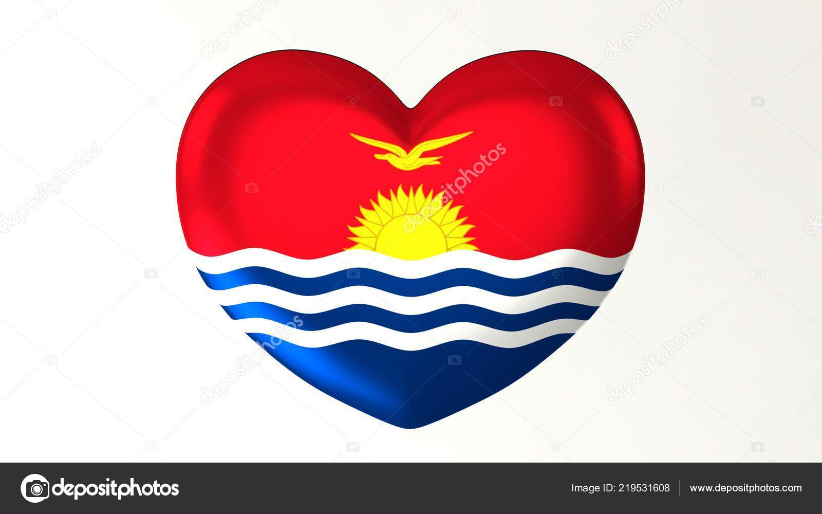 Heart Shaped Button Pin Illustration Render Flag Love