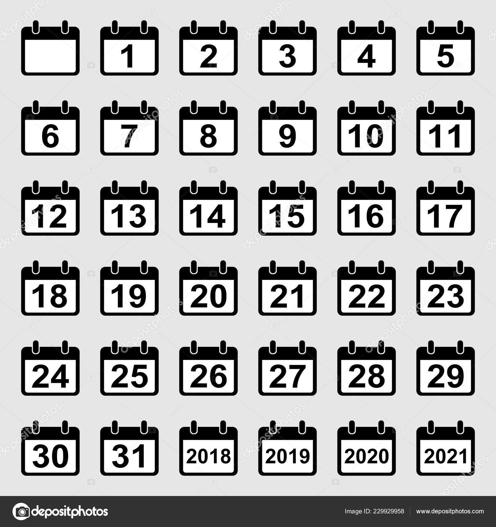 Calendar Days Icon.Vector Set Calendar Icons All Days Isolated White Background Stock