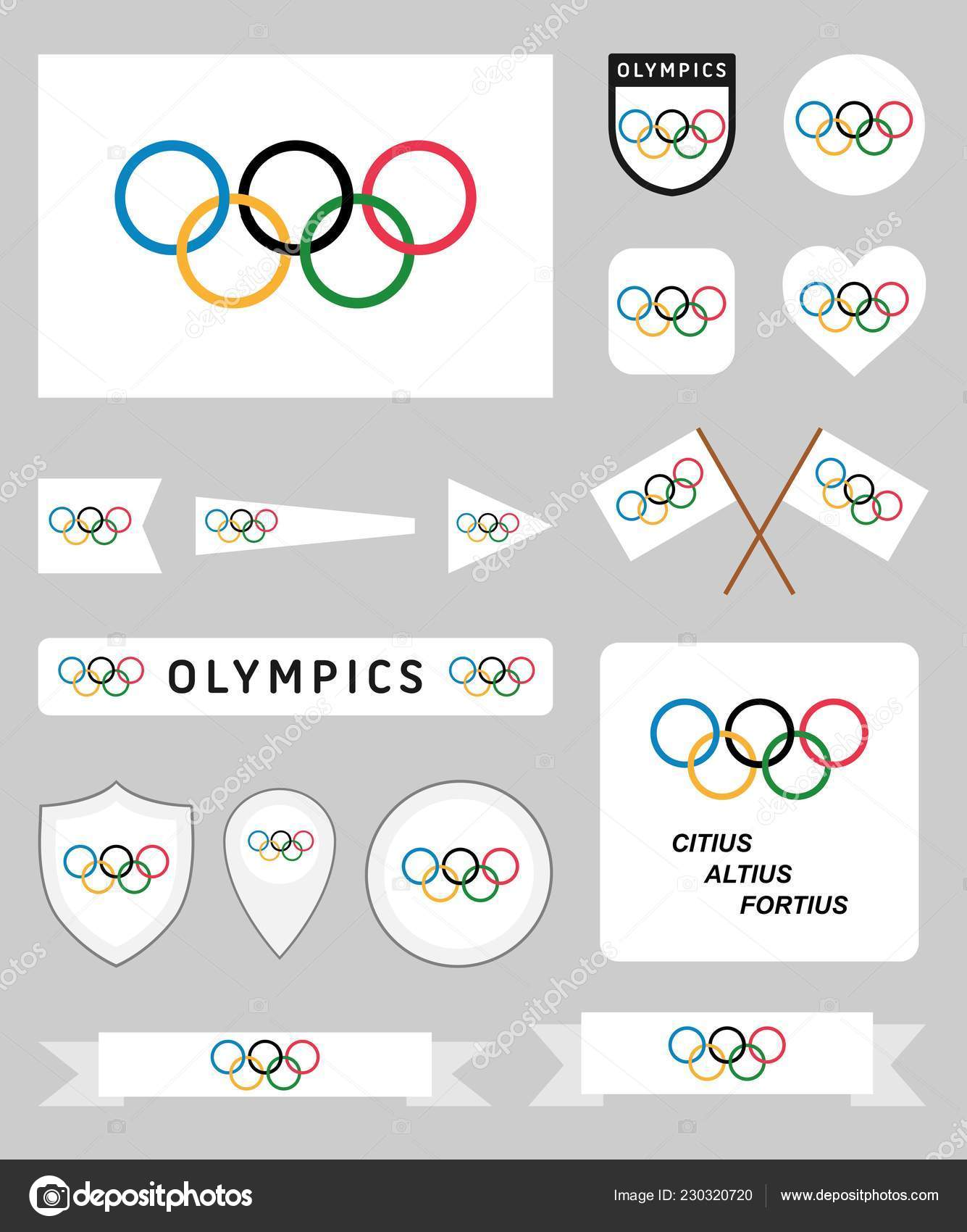 Milan Italy December 2018 Vector Collection Olympic Related