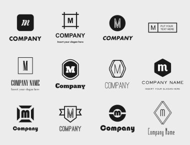 Vector collection of flat style monochromatic letter M (em) logos - elegant, modern and simple logo design collection for yout brand identity