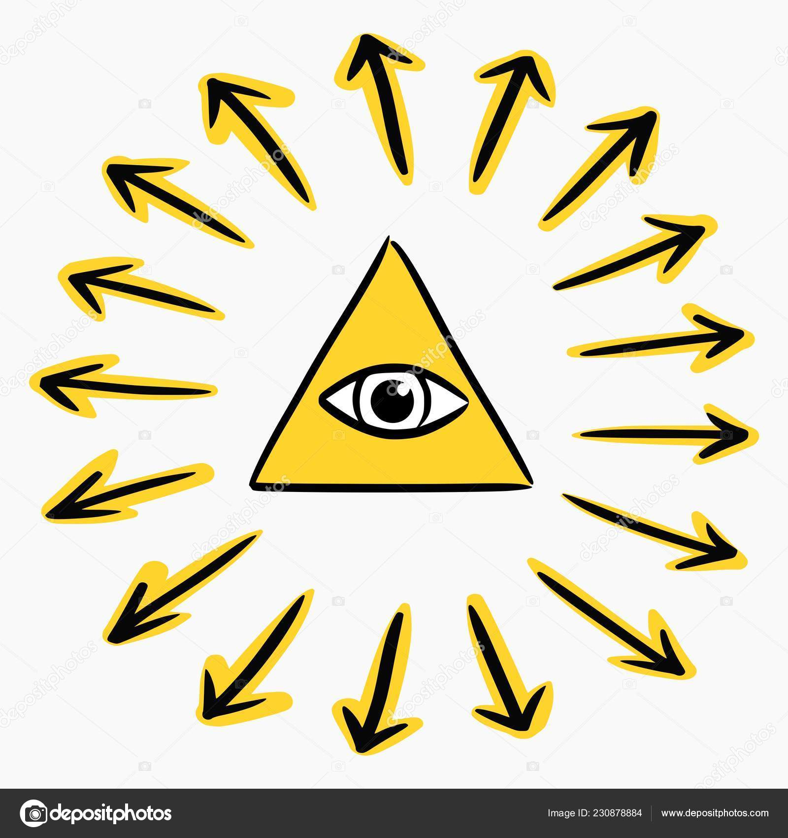 18e72a468f8b1 Hand drawn style vector illustration of god's eye in a pyramid symbol, the  all seeing eye (providence concept) — Vector by ...