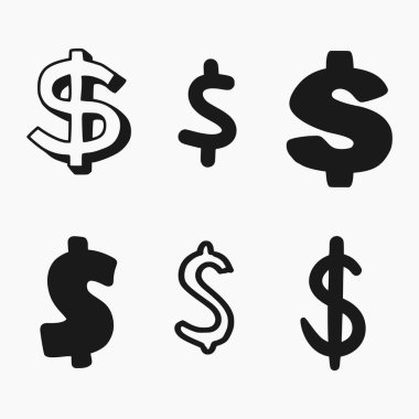 Hand drawn style vector illustration of 6 different dollar signs isolated on white background
