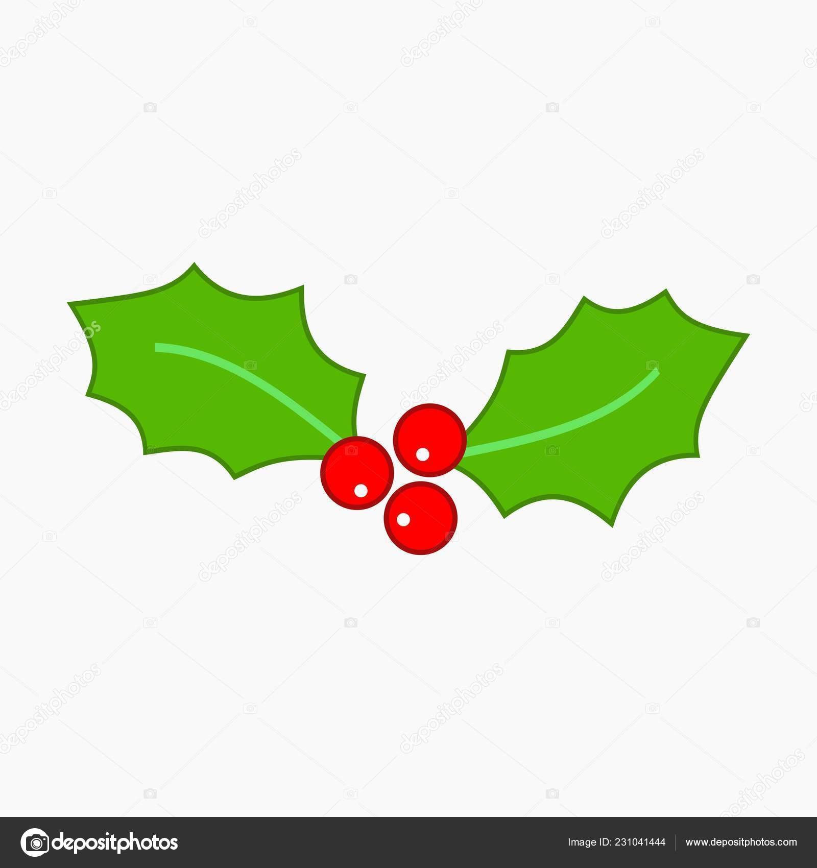 Christmas Holly Cartoon.Images Holly Leaves Cartoon Vector Cartoon Simple Style