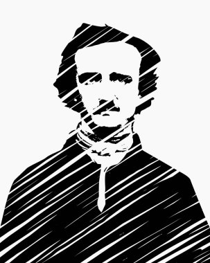 High quality vector illustration portrait of the american author and poet Edgar Allan Poe - hand drawn scribble style technique isolated on white background