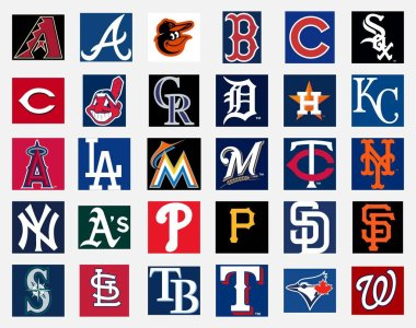 MILAN, ITALY - DICEMBER 13, 2018: Official high quality vector cap insignia logo collection of the 30 Major League Baseball (MLB) teams isolated on white background