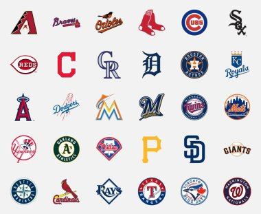 MILAN, ITALY - DICEMBER 13, 2018: Official high quality vector logos collection of the 30 Major League Baseball (MLB) teams isolated on white background