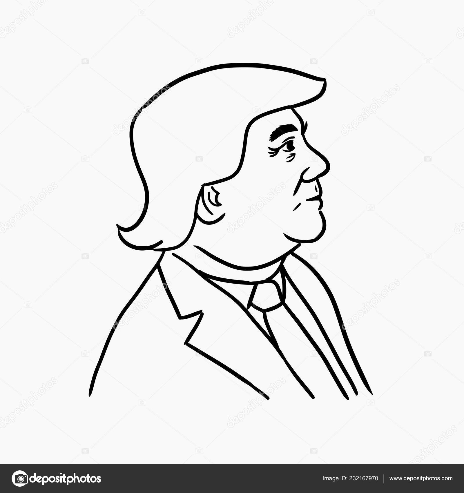 Hand Drawn Cartoon Style Illustration 45th Current President
