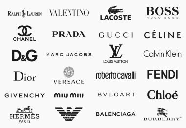 MILAN, ITALY - DECEMBER 17, 2018: Vector logos collection of the 24 most famous fashion brands in the world