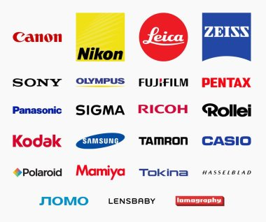 MILAN, ITALY - DECEMBER 21, 2018: Vector high quality logo collection of the most important photography related companies - photographic cameras and equipment producers logos