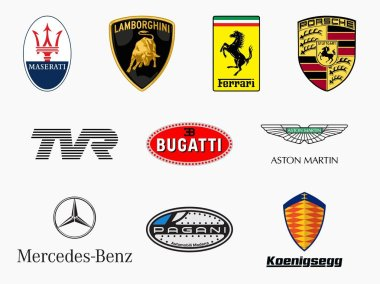 MILAN, ITALY - DICEMBER 21, 2018: Vector logos collection set of the major and most famous super cars producers in the world