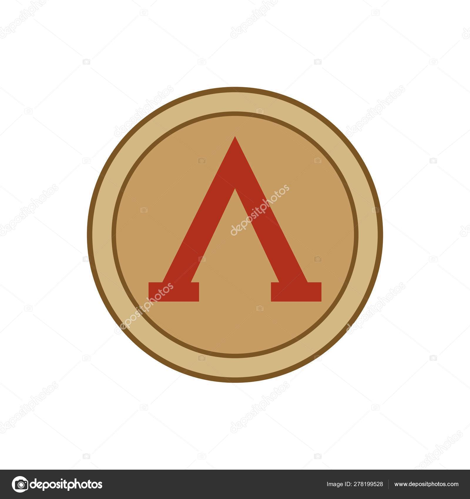 Vector Gold Red Illustration Icon Famous Spartan Shield