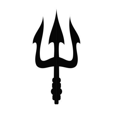 Vector illustration icon of the greek Trident of Poseidon symbol. Black icon isolated on white background