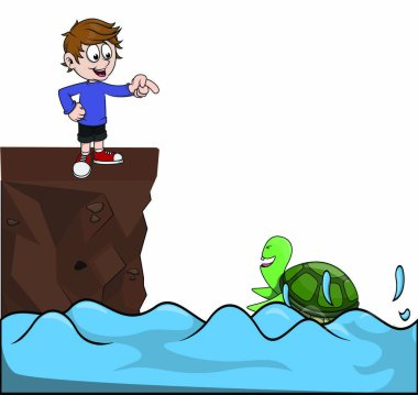 Children pointed at turtle vector clip art vector