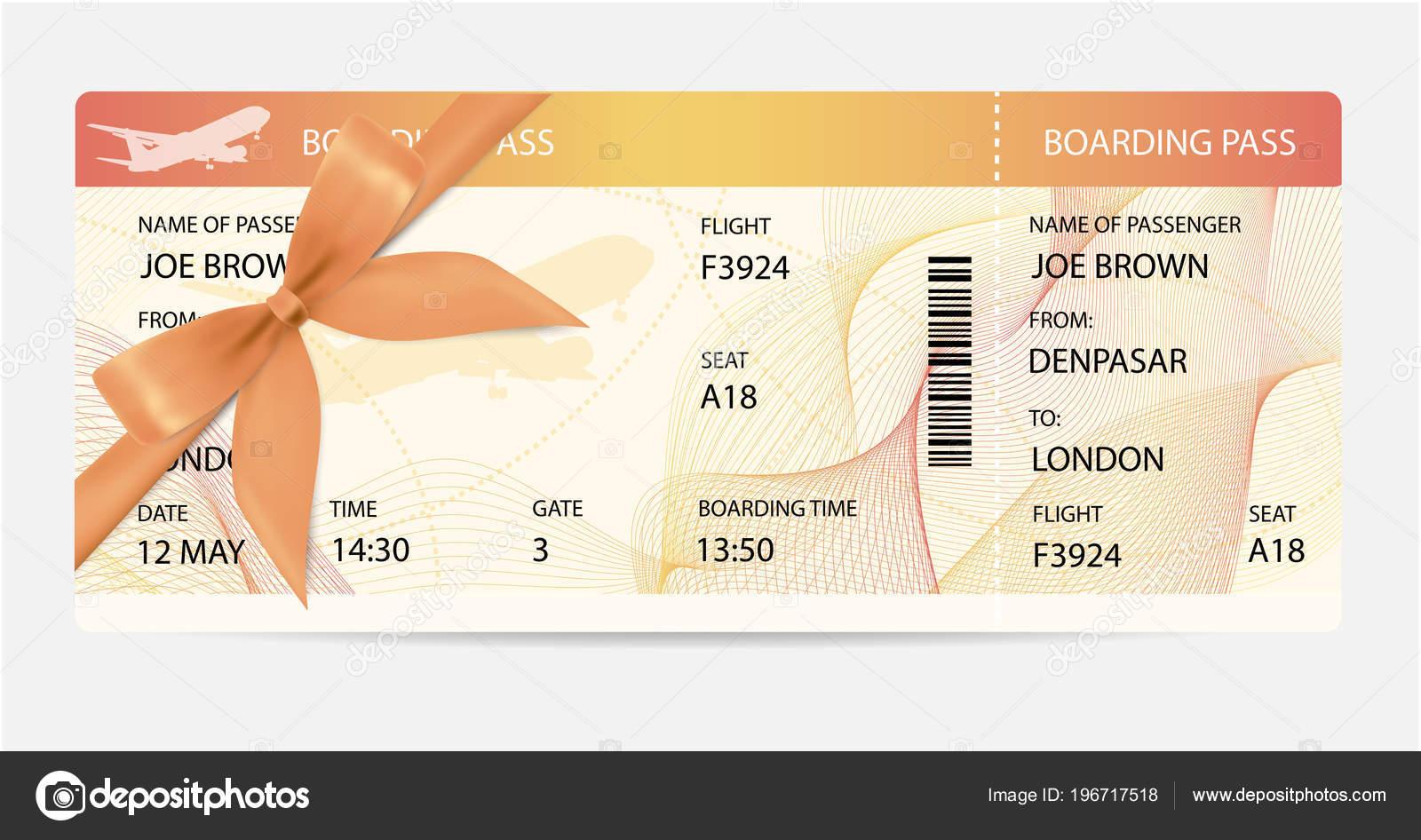 Bordkarte Ticket Traveler Check Vorlage Mit Geschenk Bogen Flugzeug ...