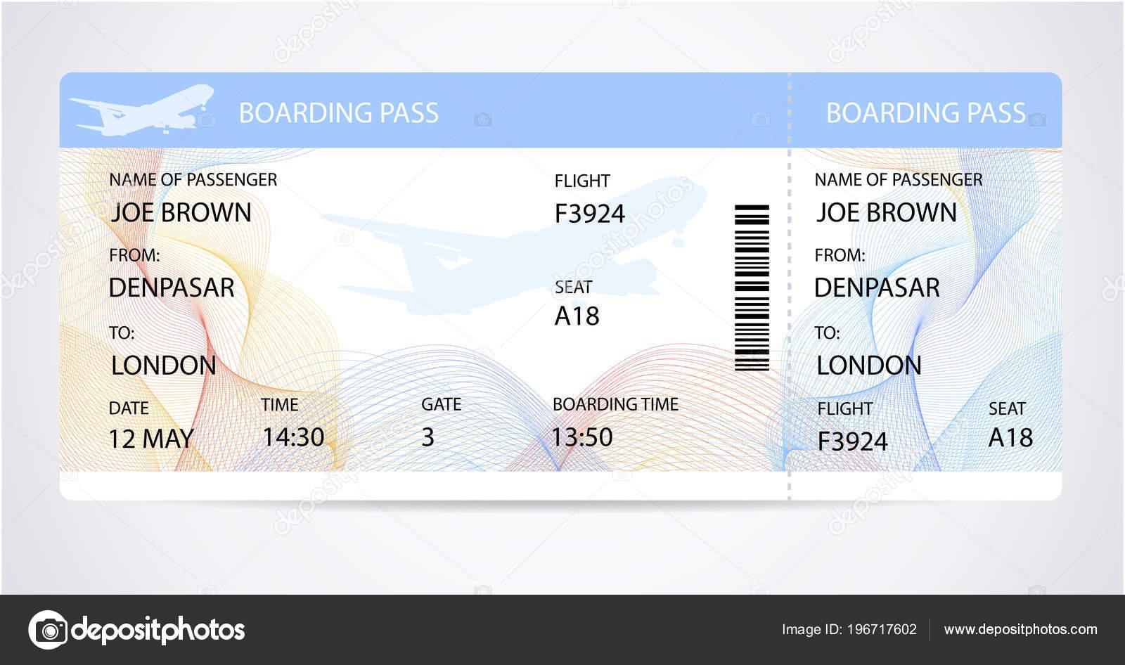 Bordkarte Ticket Traveler Check Vorlage Mit Flugzeug