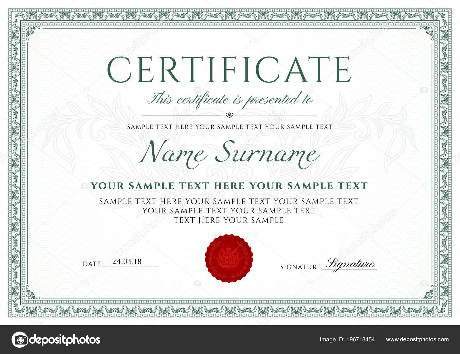 Zertifikat Abschlusszeugnis Entwurfsvorlage Weißer Hintergrund Mit ...