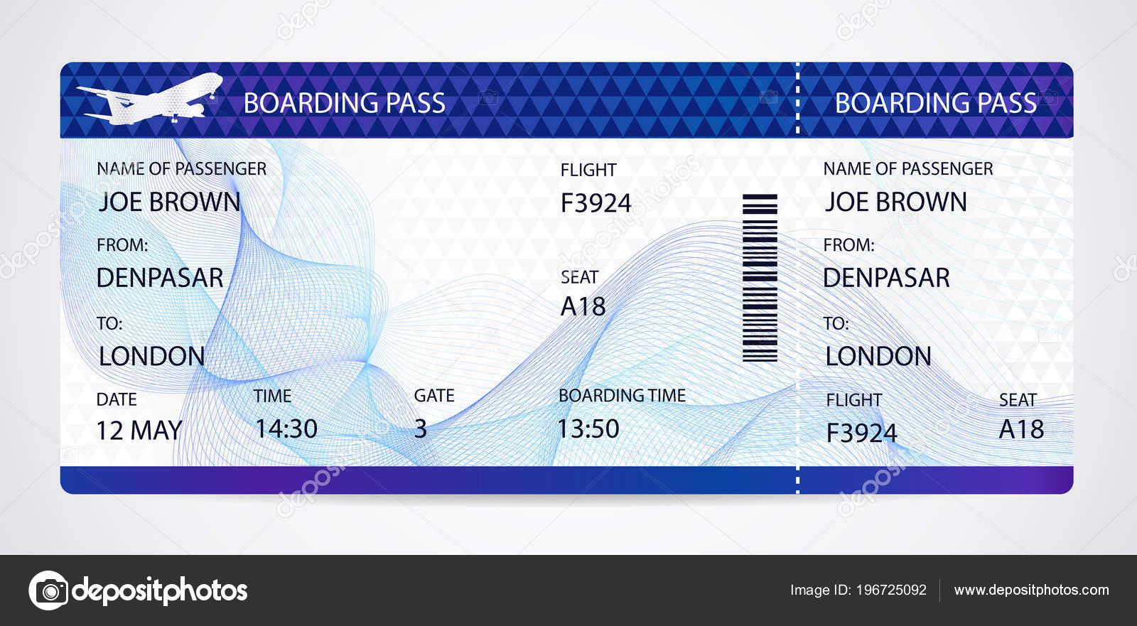 Bordkarte Ticket Traveler Check Vorlage Mit Flugzeug Flugzeug Oder ...