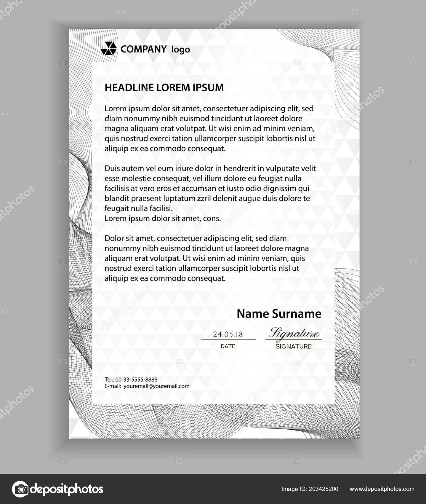 Letterhead template printable business letter layout modern examples letterhead template printable business letter layout modern examples of corporate identity design pages company paper mockup image with guilloche lines spiritdancerdesigns Gallery