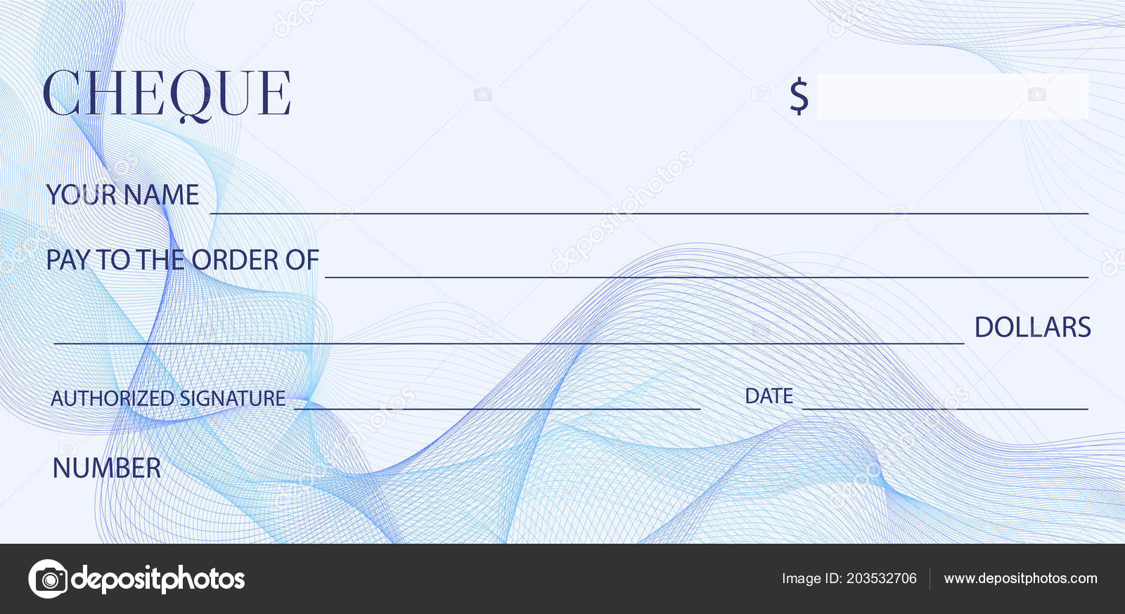Cheque Check Template Chequebook Template Blank Bank Cheque ...