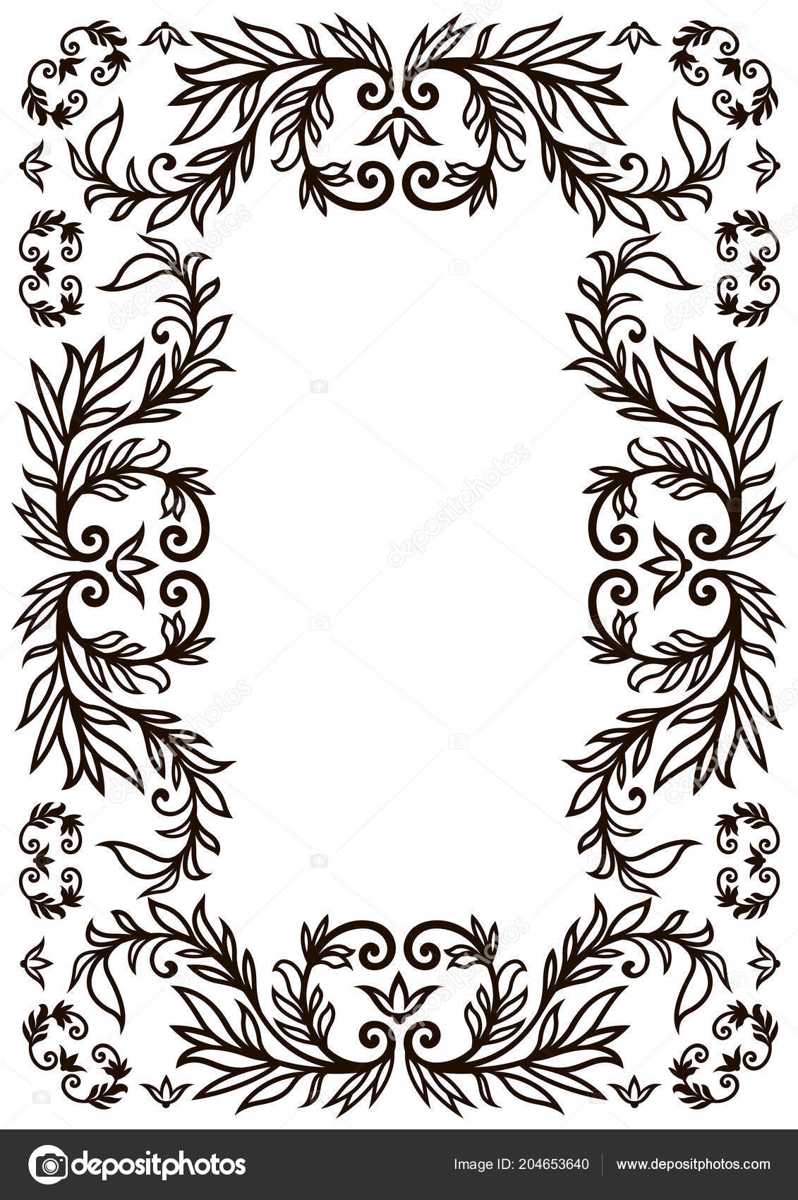 Frame Border Design Template Black White Decorative Vector Border
