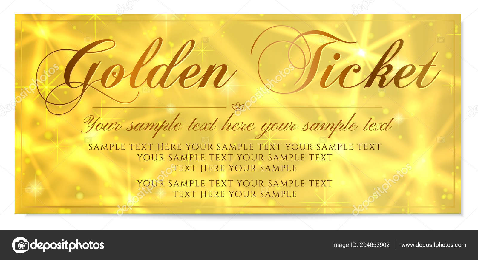 Golden Ticket Gift Certificate Gift Voucher Vector Template Design ...