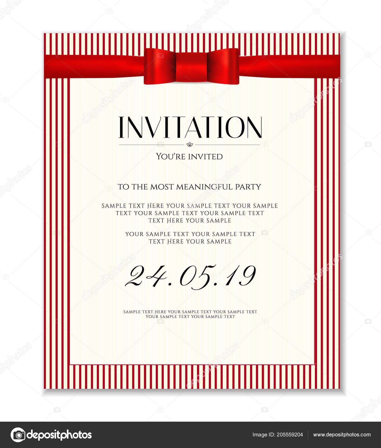 Invitation Design Template Date Card Classic Red Stripy Background