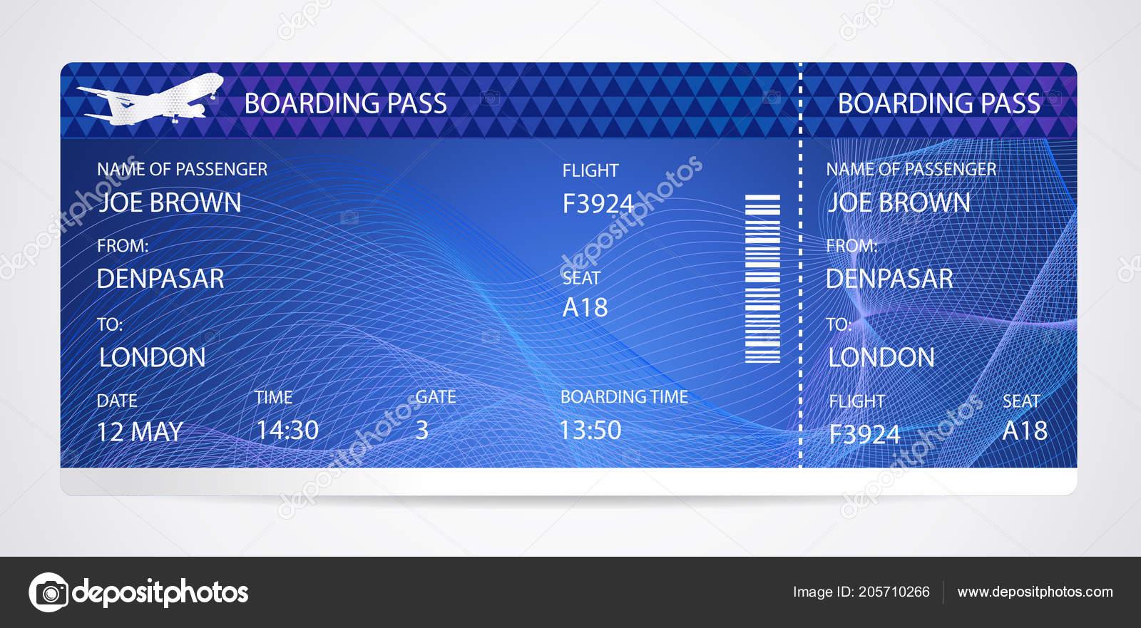 Bordkarte Flugticket Traveler Check Vorlage Mit Flugzeug