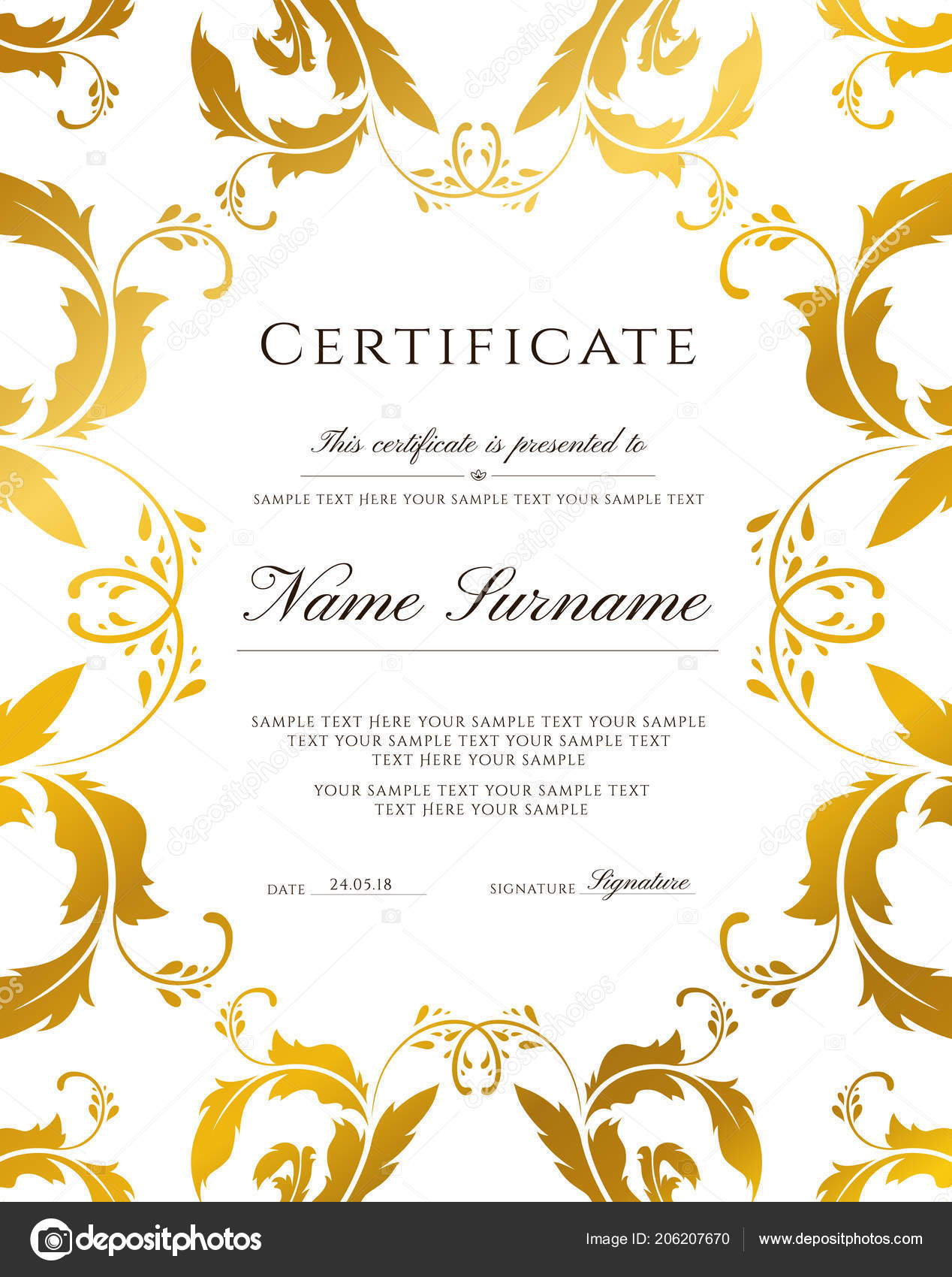 Certificate Template Gold Border Editable Design Diploma Certificate