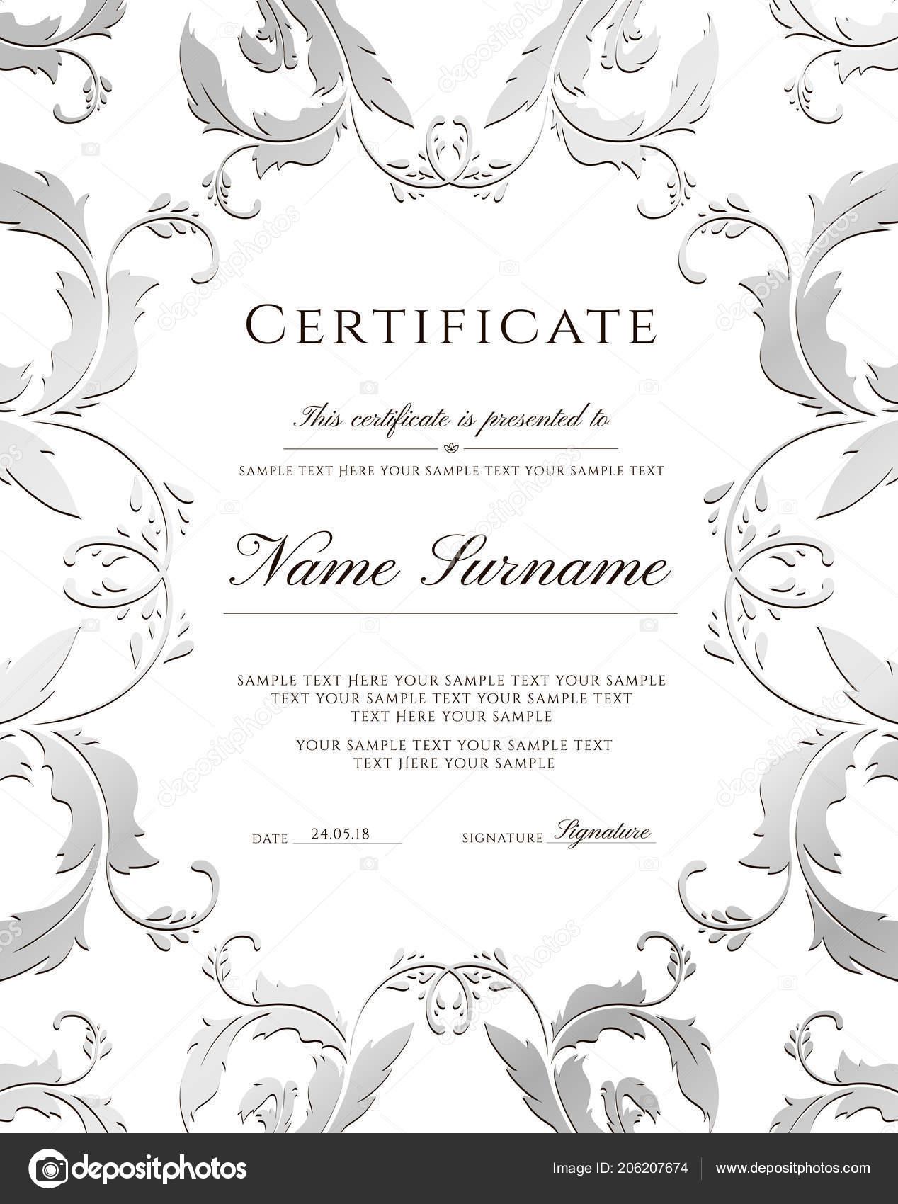 Certificate Template Silver Border Editable Design Diploma