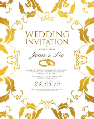 Wedding invitation design template (Save the date card). Classic Golden background with gold floral border frame useful for any Invitations,  marriage, anniversary, engagement party