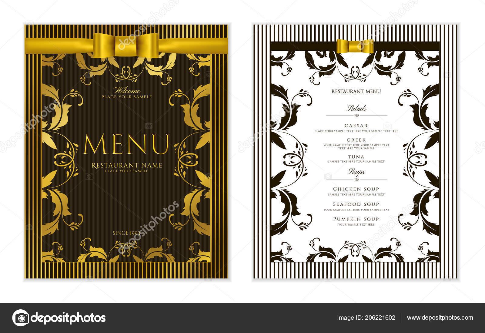 Design restaurant menu template gold floral border frame black design restaurant menu template gold floral border frame black stripy vetor de stock stopboris Images