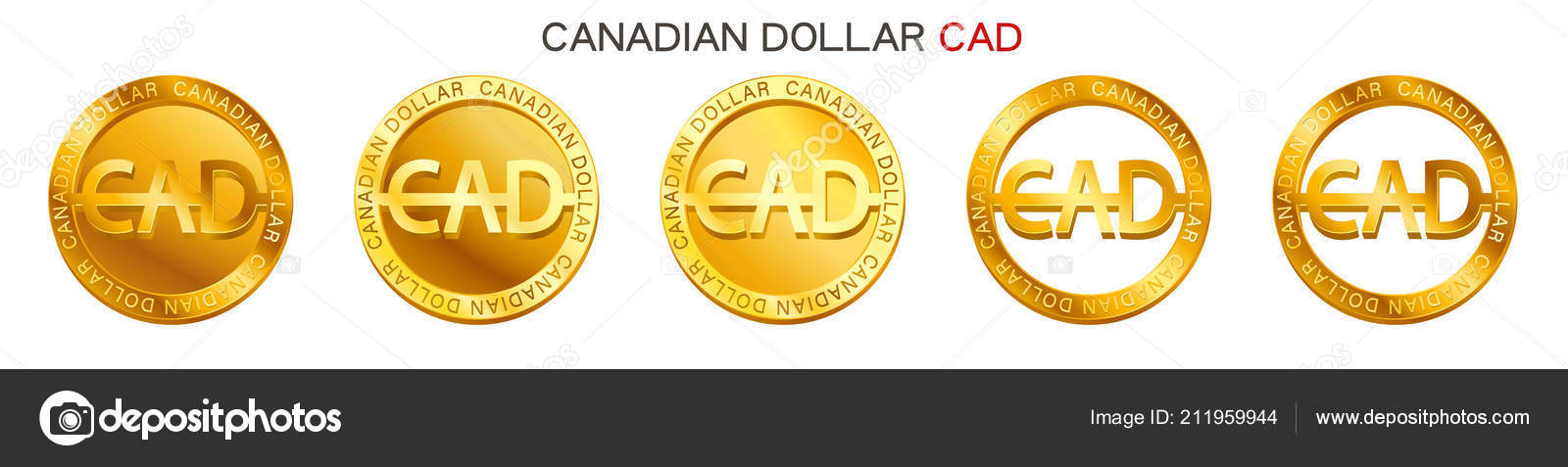 Vector Money Canadian Dollar Sign Canadian Dollar Coin Icon Isolated