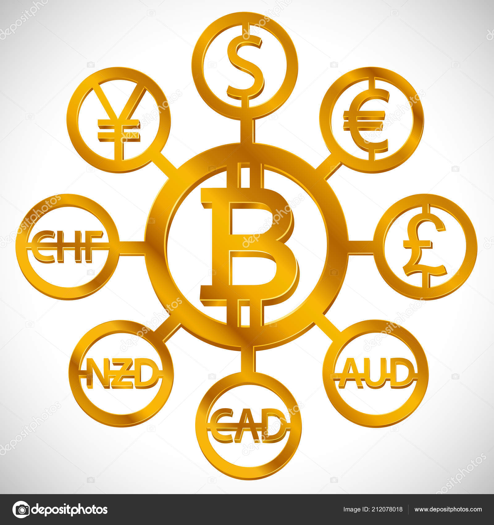 World Currencies Design Creative Concept Signs Dollar Icon Bitcoin