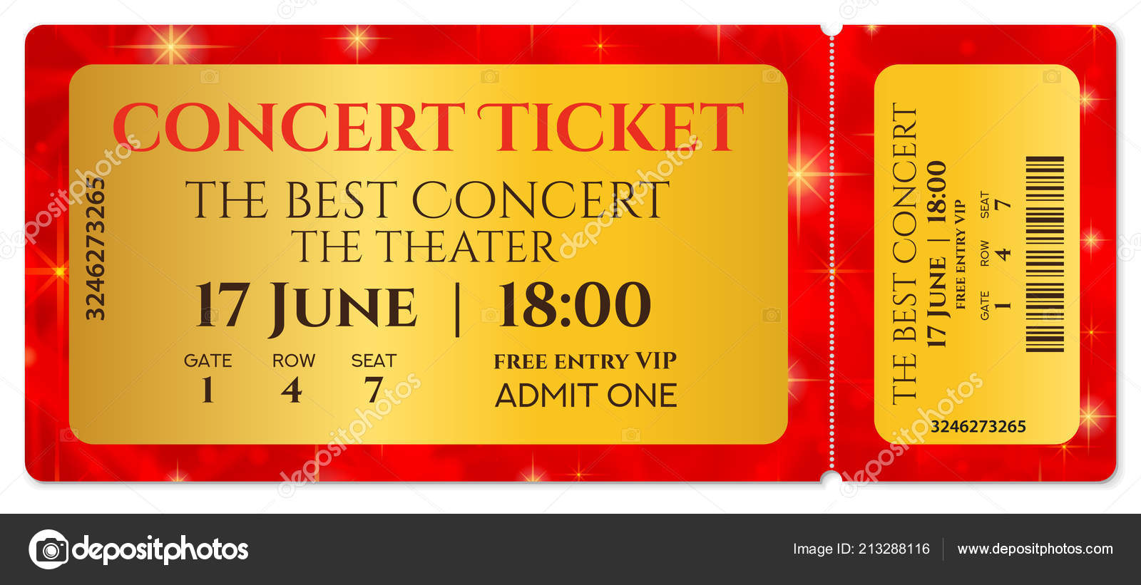 ticket template concert ticket stars tear ticket mockup red starry